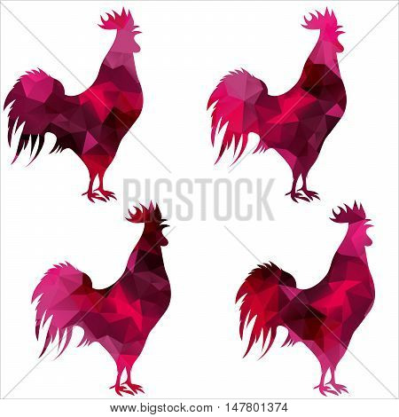 triangular geometric polygonal rooster, isolated illustration of cock on white background.