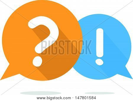Simple Question and Exclamation Mark Bubble Speech with Long Shadow