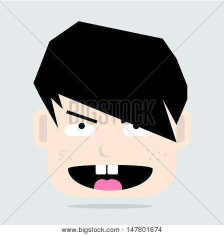 Simple Cartoon Face of Pervert Cute Boy