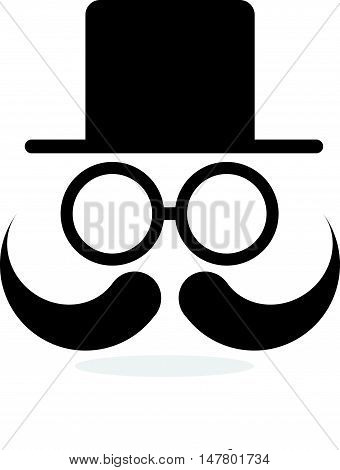 Silhoutte of Gentleman Face with Hat, Glasses, and Mustache