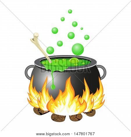 Halloween Witch cauldron with green potion isolated on white background. vector illustration for Halloween design, website, flier, invitation card