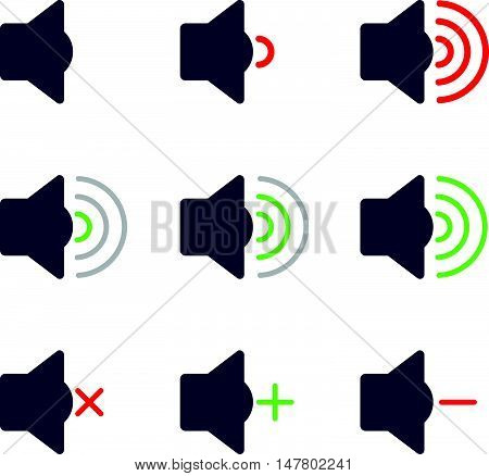 Set Icons of Audio Volume Speaker Signal