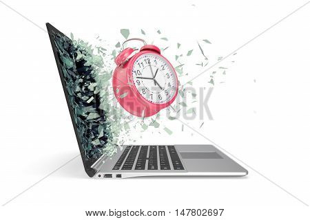 The concept of time, the clock emitted from the laptop. 3d illustration.