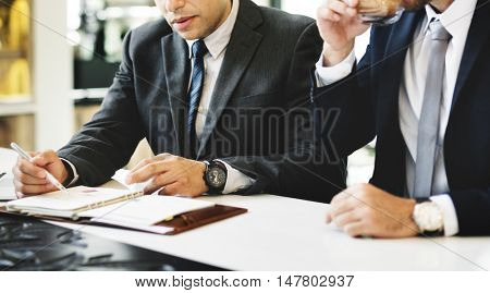 Businessmen Meeting Discussion Analysing Writing Concept