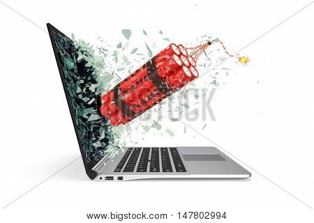 Bomba takes off from the laptop screen glass breaking into small particles. 3d illustration.