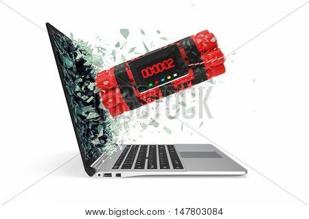 Tnt timer takes off from the laptop screen glass breaking into small particles. 3d illustration.