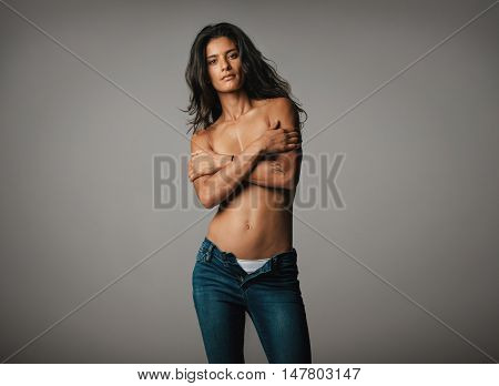 Beautiful Topless Woman Stares At Camera