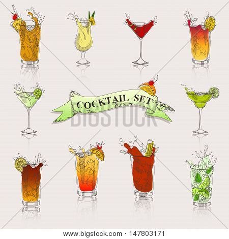 a vector set of cocktails in color for your menu flyers and other production