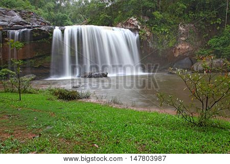 landscpae of tropical rainforest waterfall in jungle of Thailand