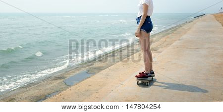 Skateboard Recreational Pursuit Summer Beach Holiday Concept
