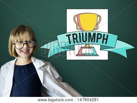 Little Girl Triumph Trophy Icon Concept