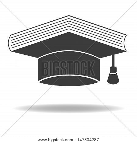 Graduate Cap and Book as Education Symbol. Vector icon. Isolated on white background.