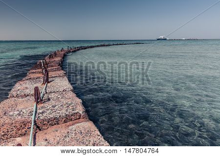Solid Stone breakwater in the Red sea