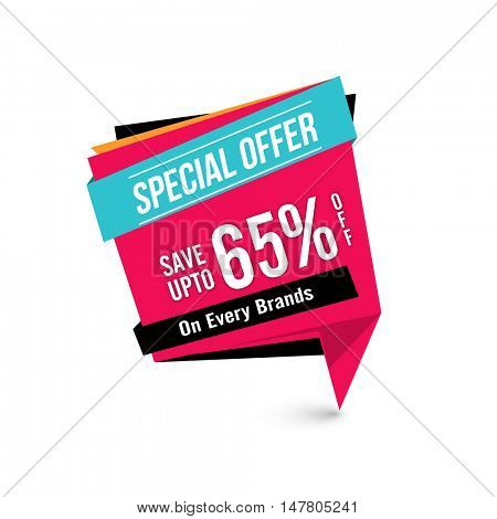 Special Offer Sale with Upto 65% Off on every brands, Creative Paper Tag or Banner design on white background.