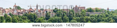 Panorama Rothenburg ob der Tauber historic town downtown, Franconia, Bavaria, Germany