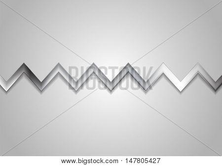 Abstract metallic zig zag stripe background. Vector silver color graphic design