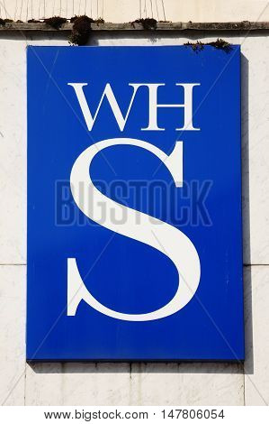 Cardiff, Wales, UK , September 14, 2016 : W H Smiths logo advertising sign outside its retail  store in Queen Street