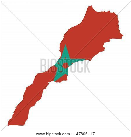 Morocco High Resolution Map With National Flag. Flag Of The Country Overlaid On Detailed Outline Map