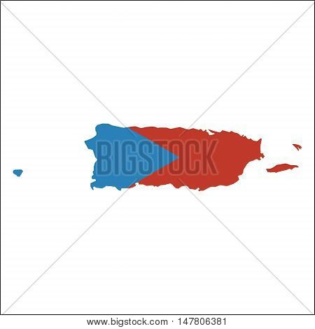Puerto Rico High Resolution Map With National Flag. Flag Of The Country Overlaid On Detailed Outline