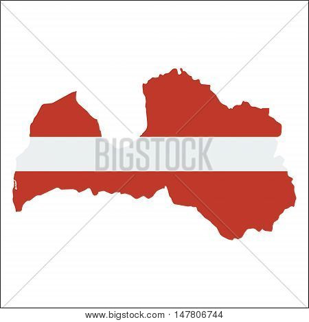 Latvia High Resolution Map With National Flag. Flag Of The Country Overlaid On Detailed Outline Map