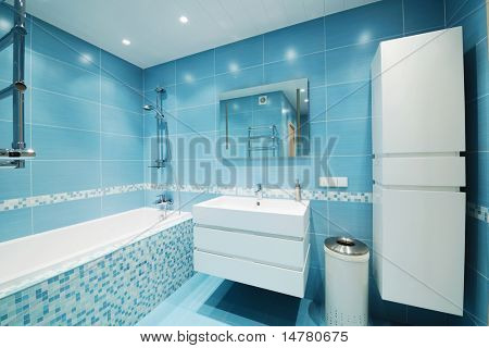 Modern luxury bathroom blue interior. No brandnames or copyright objects.