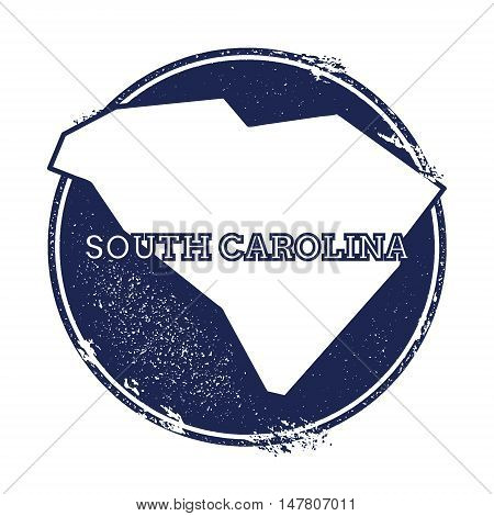 South Carolina Vector Map. Grunge Rubber Stamp With The Name And Map Of South Carolina, Vector Illus
