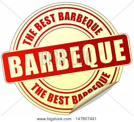 Illustration of barbeque sticker on white background