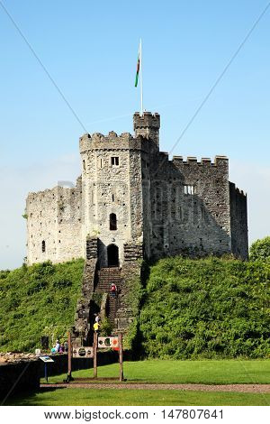 Cardiff, Wales, UK , September 14, 2016 :  Cardiff Castle in Castle Street is a 12th century ruin which is one of the cities most popular visitor attractions
