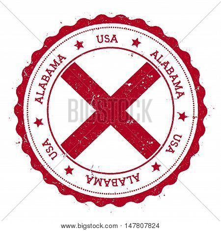 Alabama Flag Badge. Grunge Rubber Stamp With Alabama Flag. Vintage Travel Stamp With Circular Text,