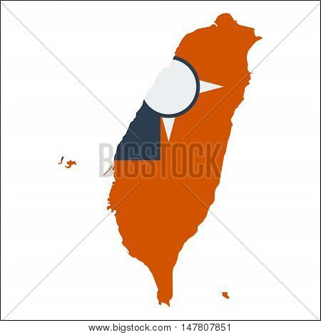 Taiwan, Republic Of China High Resolution Map With National Flag. Flag Of The Country Overlaid On De