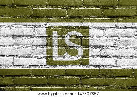 Flag Of Lees Summit, Missouri, Usa, Painted On Brick Wall