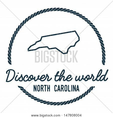 North Carolina Map Outline. Vintage Discover The World Rubber Stamp With North Carolina Map. Hipster