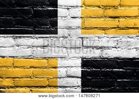 Flag Of Levis, Quebec, Canada, Painted On Brick Wall