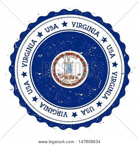 Virginia Flag Badge. Grunge Rubber Stamp With Virginia Flag. Vintage Travel Stamp With Circular Text
