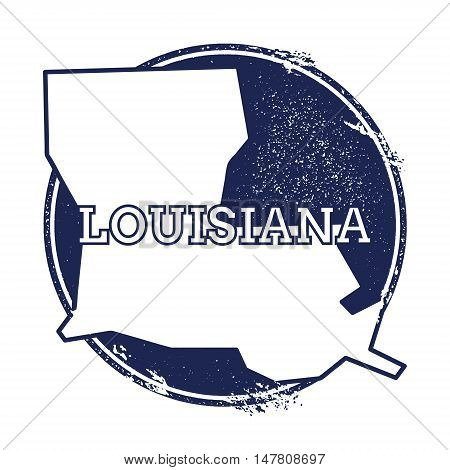 Louisiana Vector Map. Grunge Rubber Stamp With The Name And Map Of Louisiana, Vector Illustration. C