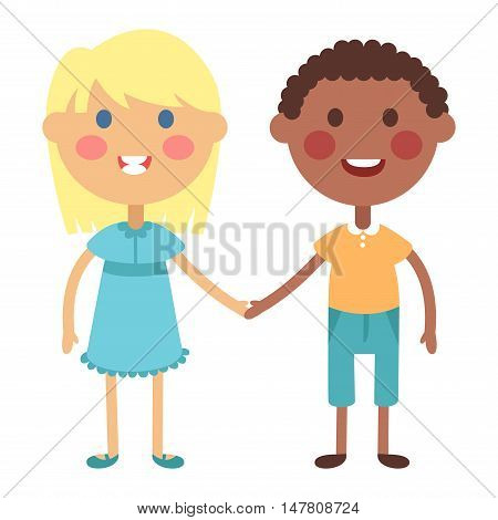Kids holding hands together. Boy and girl kids holding hands vector character. Kids holding hands cute little boy and girl.