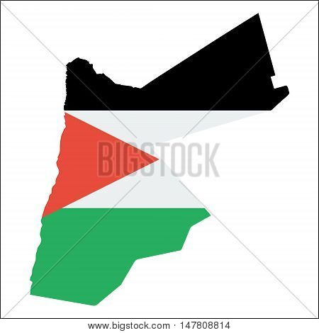 Jordan High Resolution Map With National Flag. Flag Of The Country Overlaid On Detailed Outline Map