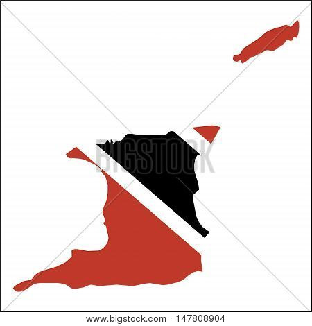 Trinidad And Tobago High Resolution Map With National Flag. Flag Of The Country Overlaid On Detailed