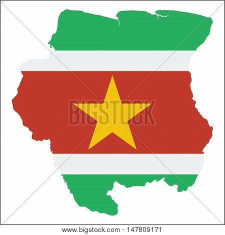 Suriname High Resolution Map With National Flag. Flag Of The Country Overlaid On Detailed Outline Ma