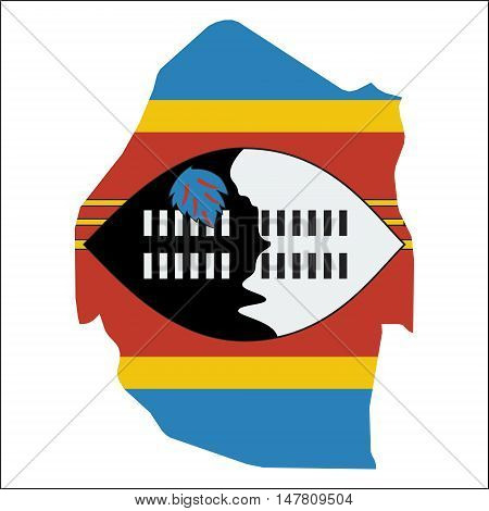 Swaziland High Resolution Map With National Flag. Flag Of The Country Overlaid On Detailed Outline M