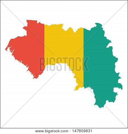 Guinea High Resolution Map With National Flag. Flag Of The Country Overlaid On Detailed Outline Map