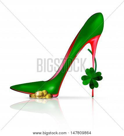 white background and the red green shoe with clover and golden coin