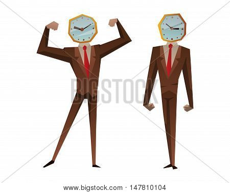 Businessman watch head vector illustration. Time business concept. Businessman clock time run and delay. Business man time concept situation, watching clock time