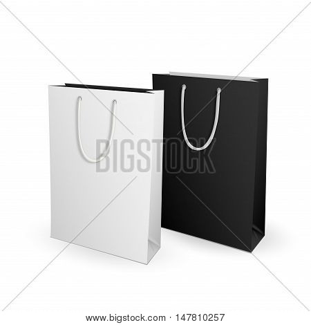 Empty white and black Shopping Bag for advertising and branding. Isolated on White Background. Mock Up Template Ready For Your Design. Product Packing Vector illustration.