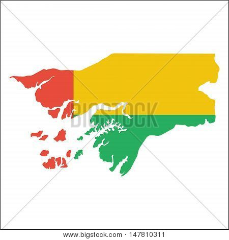 Guinea-bissau High Resolution Map With National Flag. Flag Of The Country Overlaid On Detailed Outli
