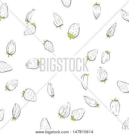Outline strawberries on white background
