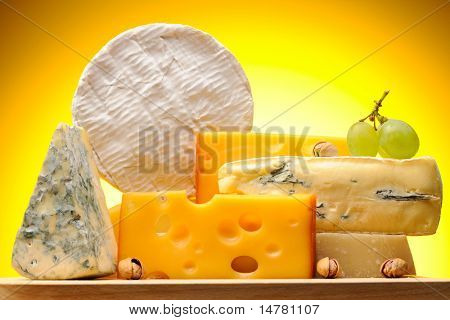 Various types of cheese on board