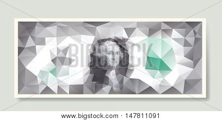 low poly one dollar, vector illustration, famous banknote background, money drawing