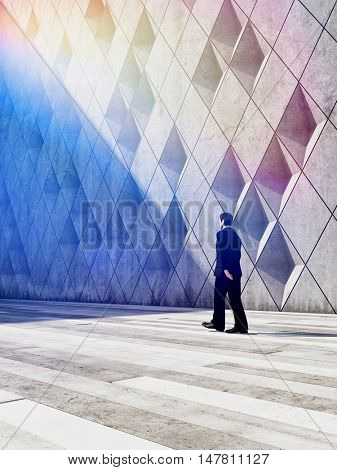 Concept of businessman walking in architectural design buildings. 3D illustration.