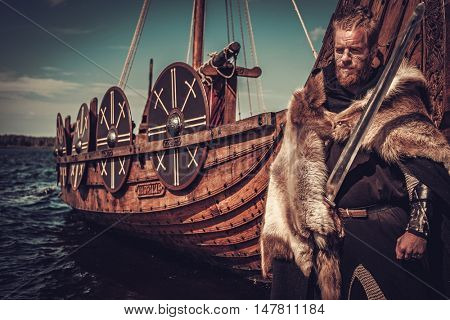Viking warrior with sword and shield standing near Drakkar on the seashore.